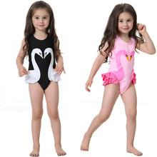 Girls Swimwear Cute Kids Swimsuit with Swimming Cap Swan Flamingo 2018 baby girl bathing suit One Pieces Swim Wear For Children