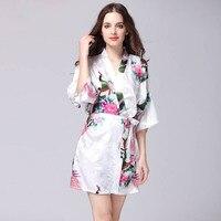 Hot Sale 2017 Silk Satin Wedding Bride Bridesmaid Robe Sexy Short Satin Femme Home Gown Sleepwear