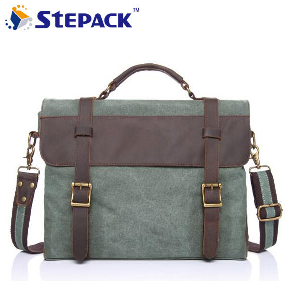 ФОТО 2016 New Fashion Crazy Horse Leather With Canvas Shoulder Bag Messenger Bag Leisure Style Travel Bag Hangbag For Men WMB0182