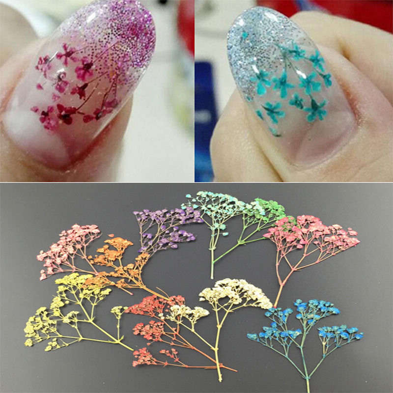 Press The Extra Air Inside Gap Between Flower And Nail Surface 6 Decorate With Ornaments Apply Topcoat Cure By Uv Led Lamp Finished