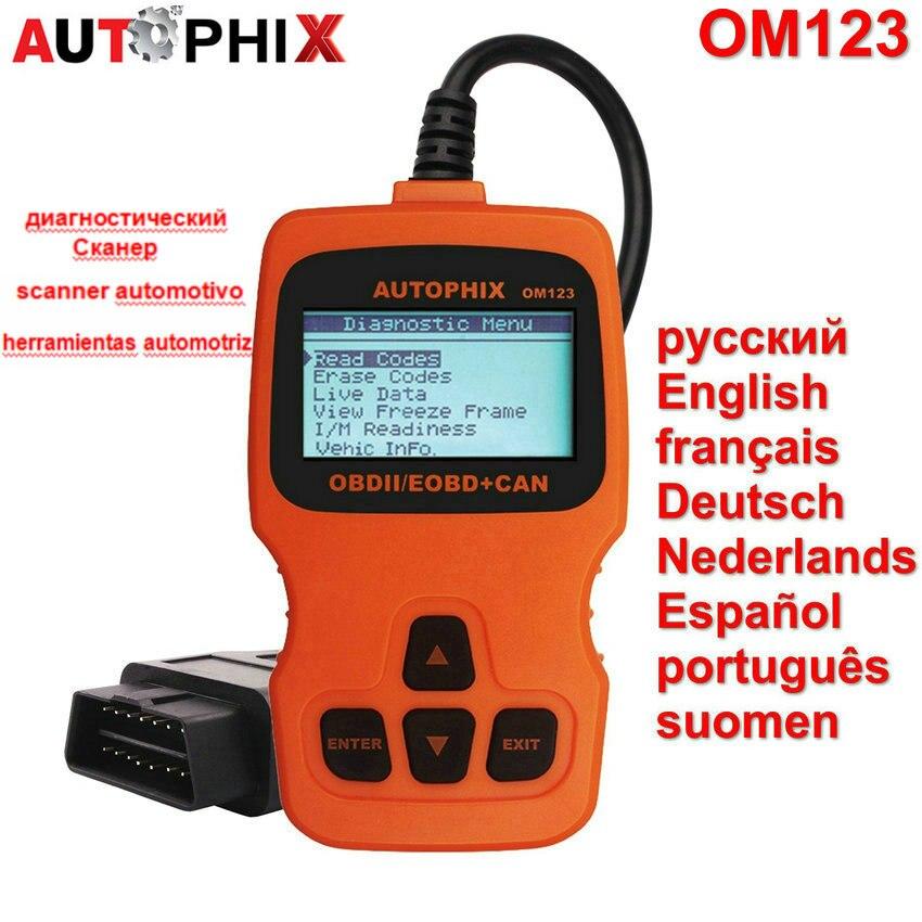 2016 OBD2 Auto Diagnostic Scanner AUTOPHIX OM123 OBD ii EOBD Engine Fault Code Reader Russian font