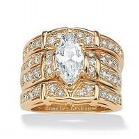 Fashion Jewelry Lovers Engagement ring Fashion jewelry Marquise Cut 3ct Cz birthstones ring Yellow Gold GF Wedding Band Ring Set