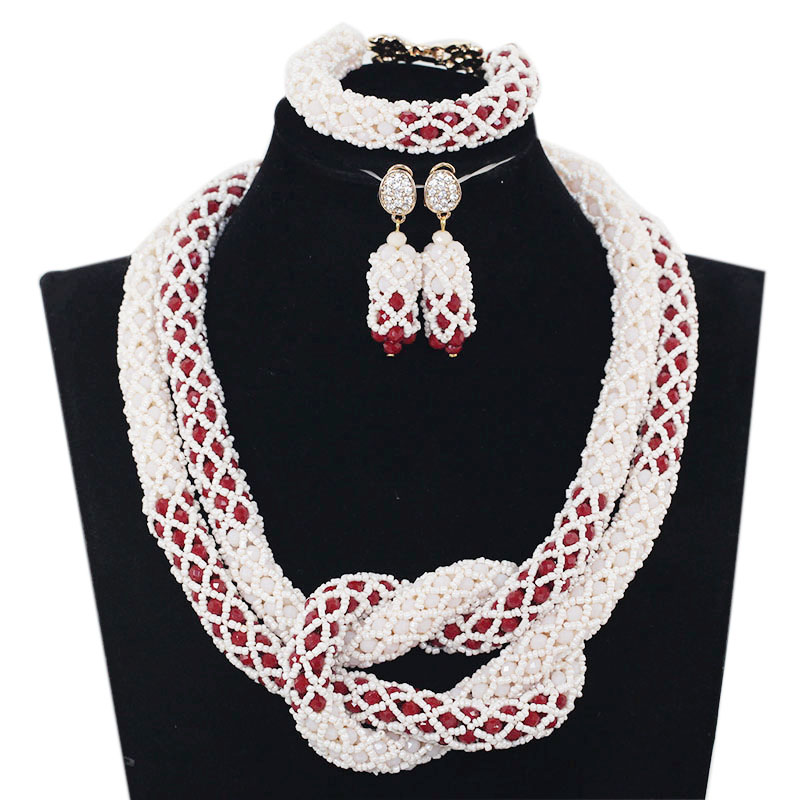 Latest Handmade Wedding African Beads Jewelry Set Mix White and Red Crystal Beaded Necklace Set Free