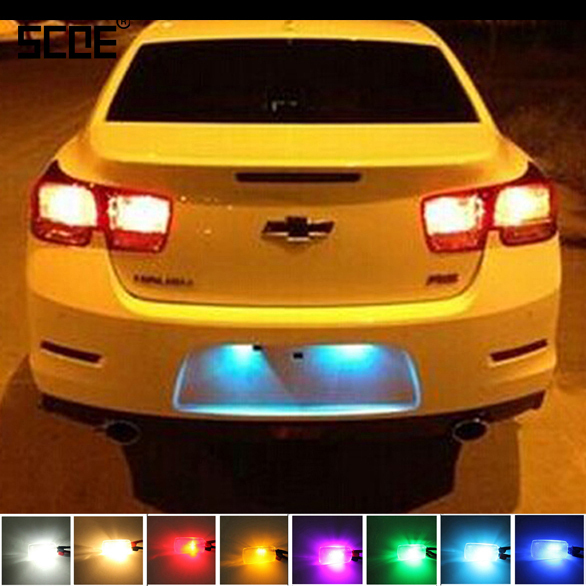SCOE Car Styling <font><b>T10</b></font> 2x20SMD <font><b>LED</b></font> License Plate Light Lamp Bulb Source For Chevrolet Aveo Epica Spark Cruze Captive Malibu Red image