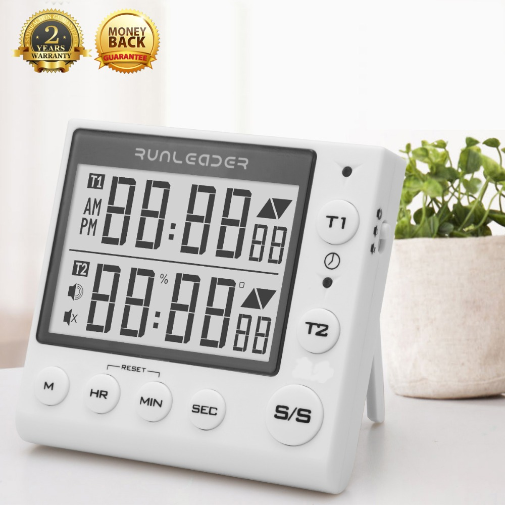 Kitchen Timer Digital Countdown Timer 2 Channel Flashing LED for Lab Electronic Kitchen Homework Exercise Gym Workout Cooking-in Timers from Tools