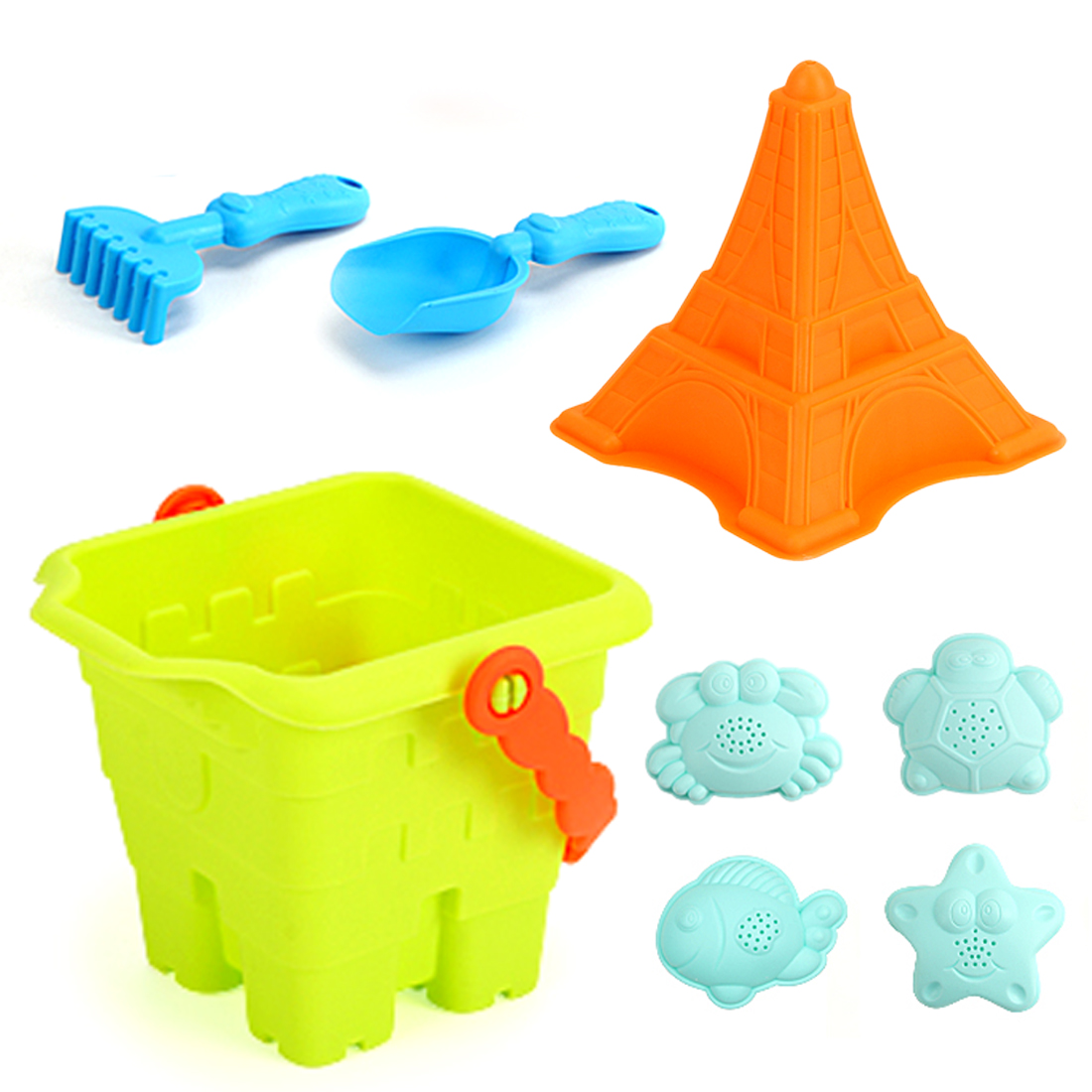 Soft Rubber Beach Sand Outdoor Toys For Children Beach Toys Set With Bucket Shovel And Rake For Kids - Colorful