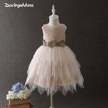 52a6211a525 2018 Champagne Embroidery Flower Girls Dresses for Weddings Baby Birthday  Tutu Dresses for Girls Knee Length vestido de daminha