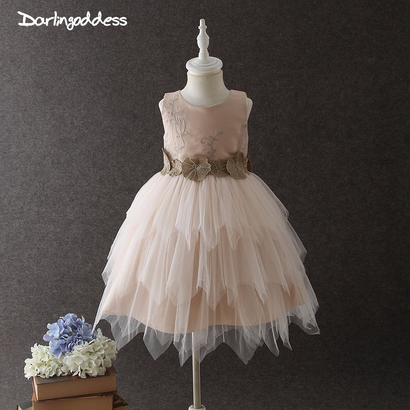 2018 Champagne Embroidery   Flower     Girls     Dresses   for Weddings Baby Birthday Tutu   Dresses   for   Girls   Knee Length vestido de daminha