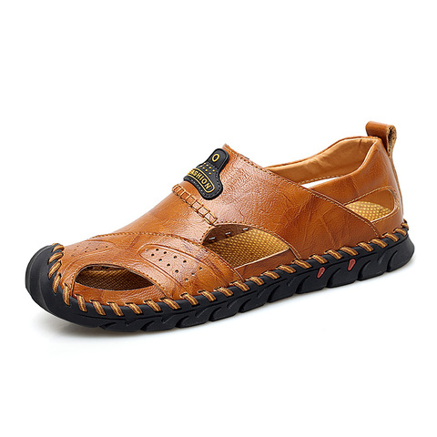 VESONAL Summer Genuine Leather Non-slip Outdoor Hiking Large Size Shoes Men Casual Sandals Breathable Comfortable Beach Sandals Lahore
