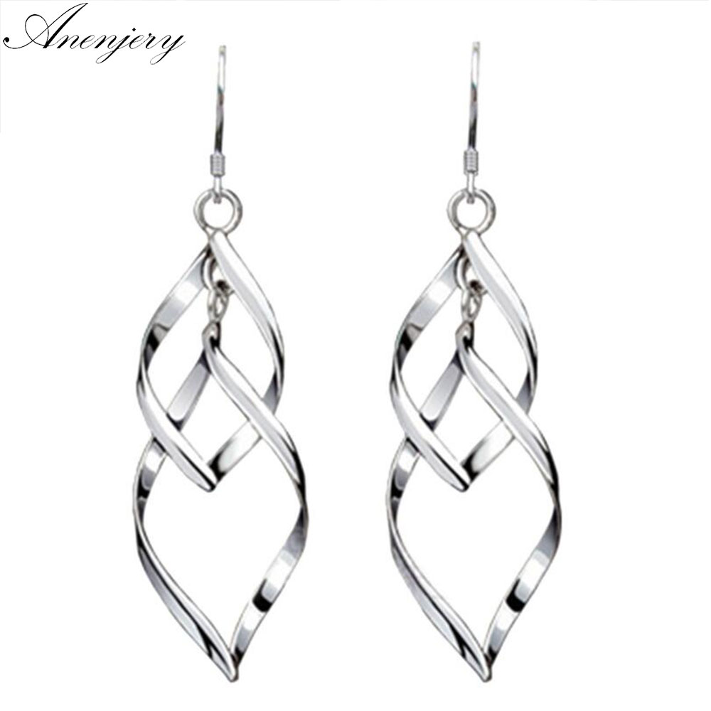 Jewelry & Watches The Cheapest Price Sterling Silver 925 Plate White Gold Elegant Classic Anniversary Dangel Earrings Making Things Convenient For Customers Engagement & Wedding