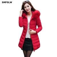 Long Women S Winter Jacket Women Parkas 2016 Female Faux Fur Collar Hooded Down Cotton Warm