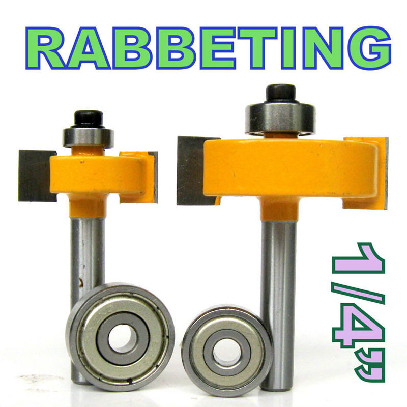 2 pc 1/4 Shank 1/2, 3/8 Rabbeting & Slotting Router Bit w/2pc Bearings Set  woodworking cutter woodworking bits 2 pc 1 2 sh 1 2 3 8 rabbeting