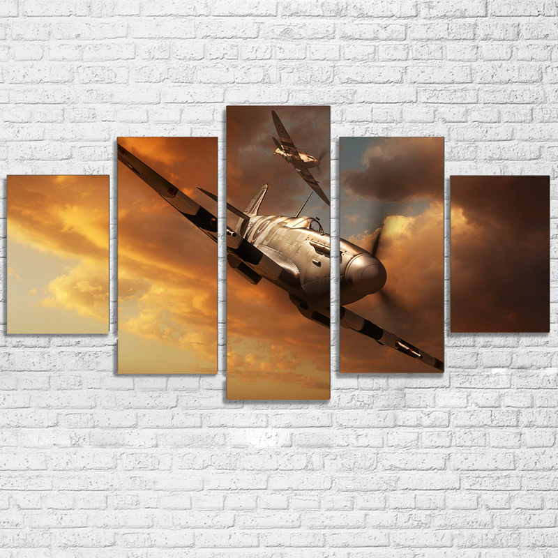 Canvas Home Decor For Living Room Wall Art Frame HD Printed Pictures 5 Pieces Airplane Painting Aircraft Landscape Poster image
