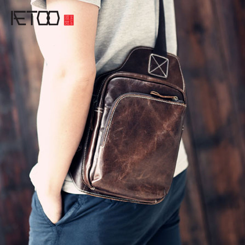 AETOO vintage 100% cow leather luxury crazy horse genuine leather men waist packs classic leisure travel large chest packs men justin s classic almond butter squeeze packs 6x10ct