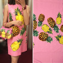 1 meter sicily style pineapple thick jacquard fabric, women dress polyester flowers jacquard fabric, pink pineapple dress fabric(China)