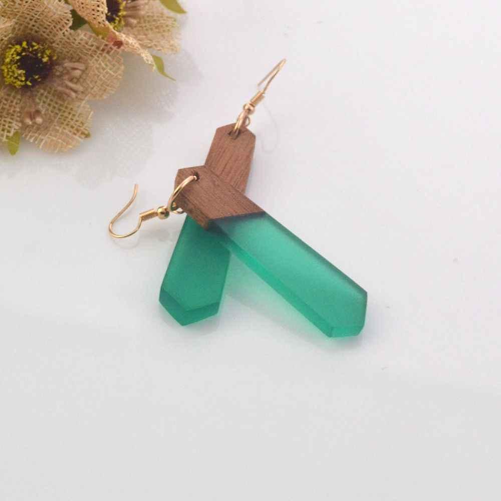 Кольцо для ушей новые особенности текстура натурального дерева серьги из полимеров, зеленый с модными женскими ювелирными изделиями, подарки оптом.