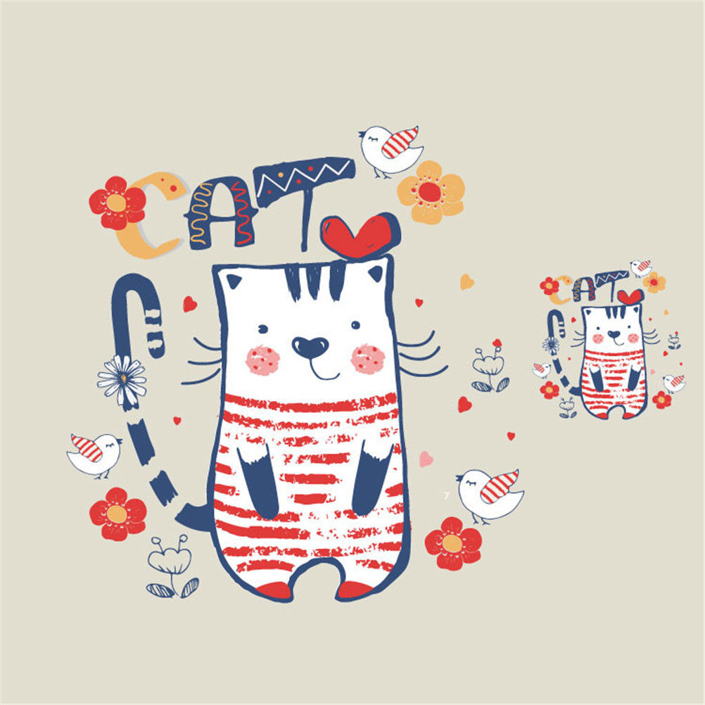 Cute Cat Iron On Transfer For T Shirt Applique Stickers
