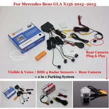 Liislee Car Parking Sensors + Rear View Camera = 2 in 1 Visual BIBI Alarm Parking System For Mercedes Benz GLA X156 2013~2015