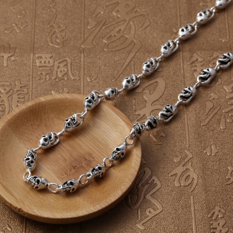 Plata pura S925 plata esterlina 925 joyería Retro cráneo hombres collar - 5