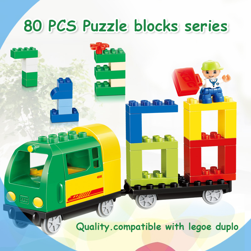 HM108 80PCS Train building blocks Early Learning enlighten Baby toys bricks compatible with dduplo educational toys for Children купить