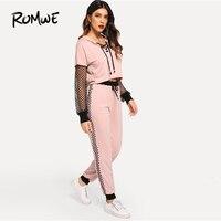 ROMWE Fishnet Sleeve Lace Up Hoodie Sweatpants Set 2019 Pink Women Two Piece Set Spring Autumn Drawstring Fashion Set