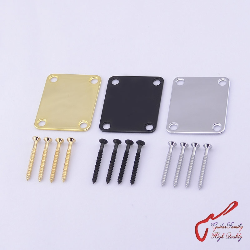 1Set GuitarFamily Electric Guitar Electric Bass Neck Plate / Neck Joint Plate With Screws MADE IN KOREA jdjqb 01 electric guitar neck plate screws black