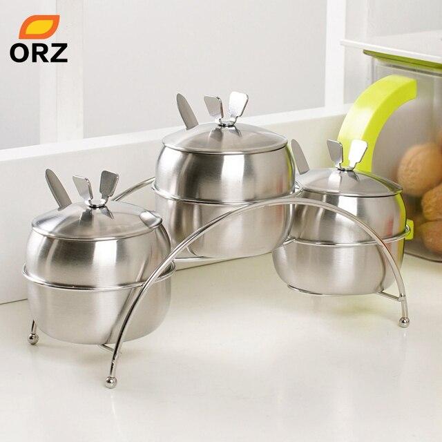 ORZ 7Pcs/Set Kitchen Supplies Apple Shape Stainless Steel Condiment Pot  Spice Container Salt Sugar