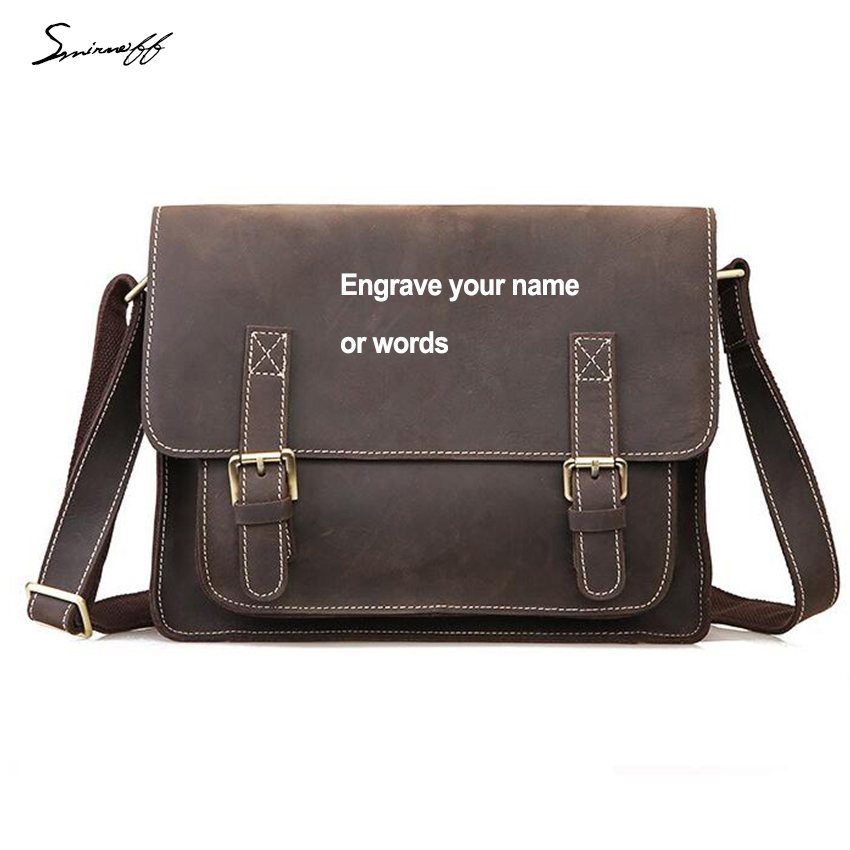 Hasp Cover Design Vintage Men Genuine Leather Laptop Bags Male Laser ... cfe765a83dbee