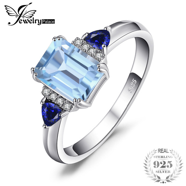 JewelryPalace Elegant 1.9ct Top Natural Sky Blue Topaz & Created Sapphire Engage