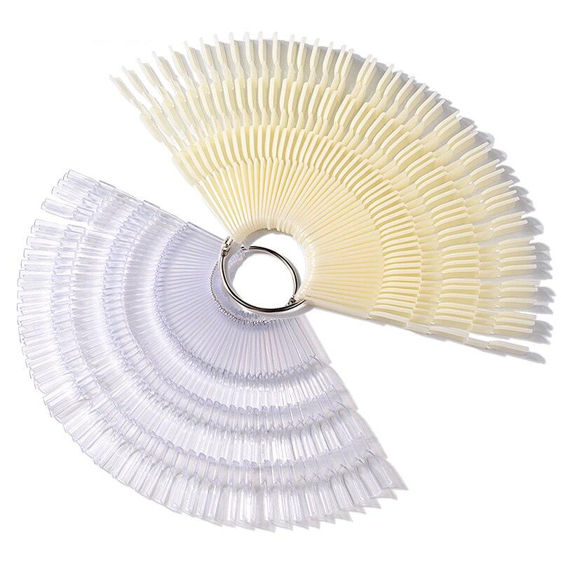 ELECOOL 150 Pcs Nail Polish UV Gel Color Palette Card Display Fan Shaped Natural False Nail Sticks Nail Training Tools