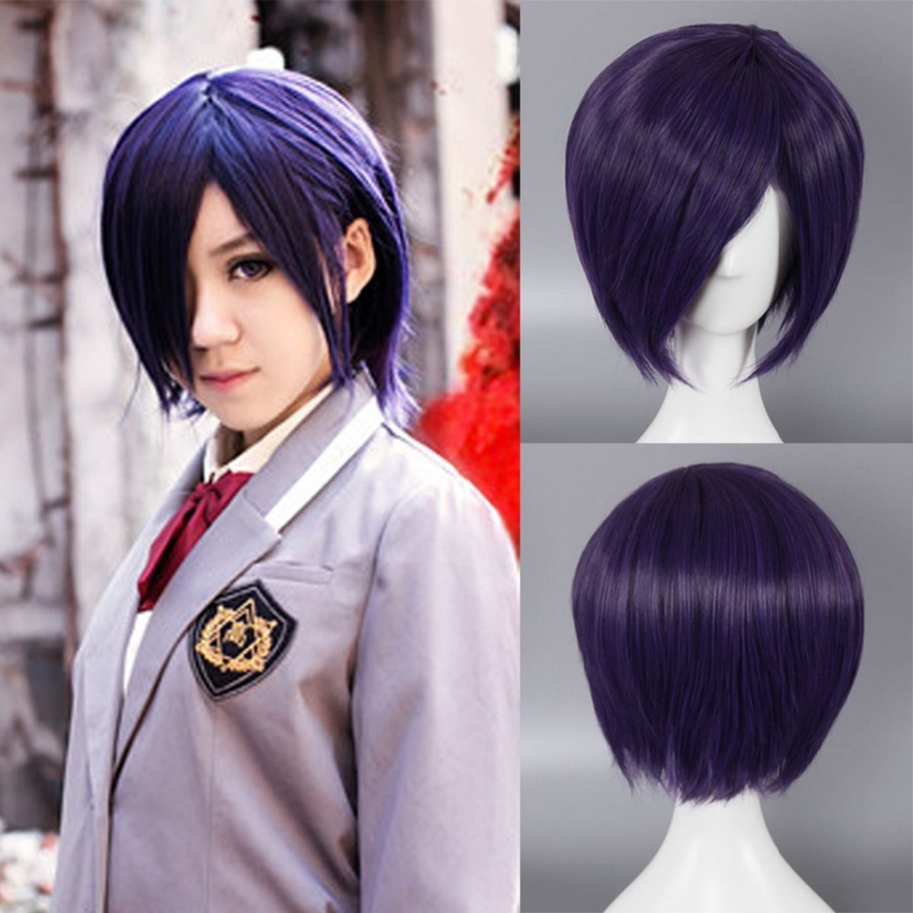 Purple Girl Boy Wig Cosplay Anime Costume Party Short ...