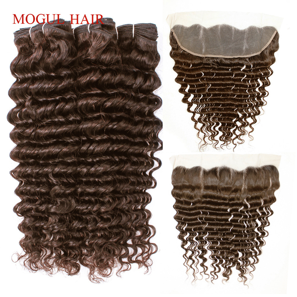 MOGUL HAIR Chocolate Brown Color 4 Deep Wave Bundles with Frontal Indian Remy Human Hair Weft