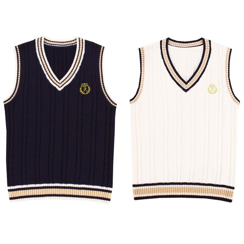 Japanese School Uniform Vest Fashion V-neck Embroidery Pullover School Girl Sweater Vest Tank Top