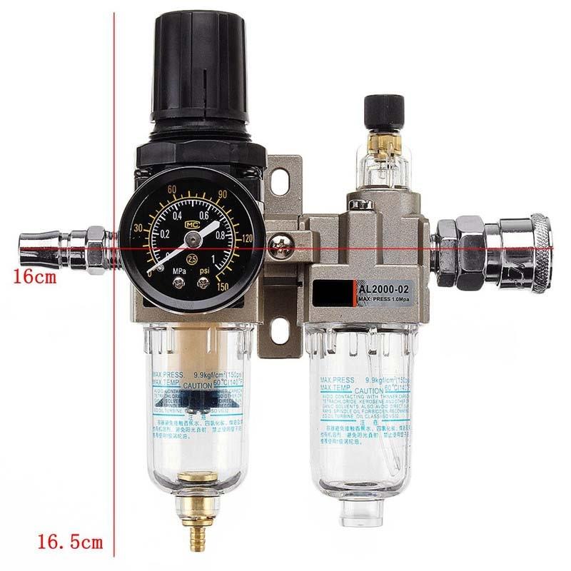 150Psi Manual Drainage Supply Air Pump Air Compressor Oil Filter Regulator Pneumatic Water Separator Two-piece AC2010-02