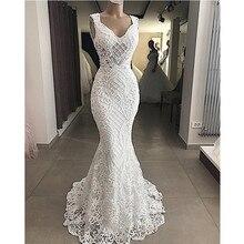 Robe De Mariee Elegant Cut Out Lace Mermaid Trouwjurk Mouwloze Hollow Out Wedding Bruidsjurken Jurk Vestido De noiva