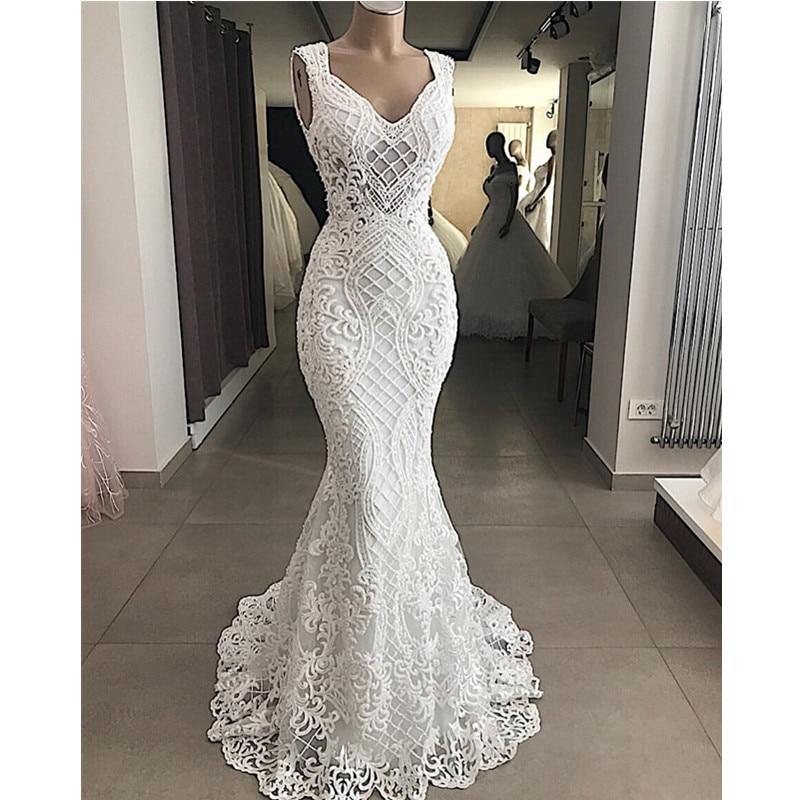 Robe De Mariee Elegant Cut Out Lace Mermaid Wedding Dress Sleeveless Hollow Out Wedding Bridal Gowns Dress Vestido de NoivaWedding Dresses   -