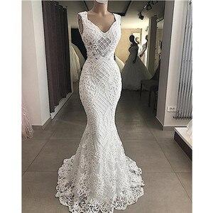 Image 1 - Robe De Mariee Elegant Cut Out Lace Mermaid Wedding Dress Sleeveless Hollow Out Wedding Bridal Gowns Dress Vestido de Noiva