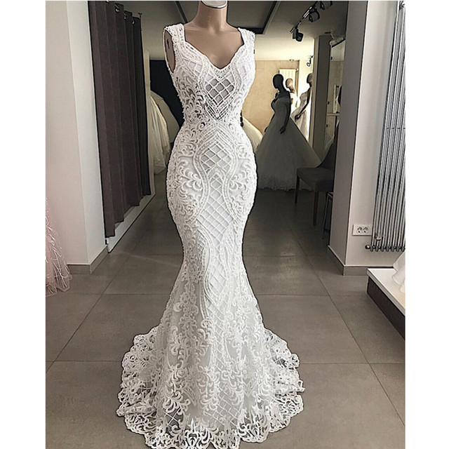 Robe De Mariee Elegant Cut Out Lace Mermaid Wedding Dress Sleeveless Hollow Out Wedding Bridal Gowns Dress Vestido de Noiva
