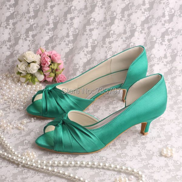 Wedopus MW632 Hot Sale Charming Wedding Bridal Shoes Low Heel Green Satin Peep Toe Pumps