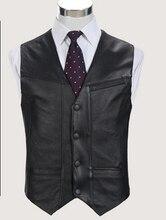 Black Genuine Leather Vest 2016 New Middle-aged Male Sheepskin Multi-pockets Single Breasted Photography Vests Biker Jacket Ma