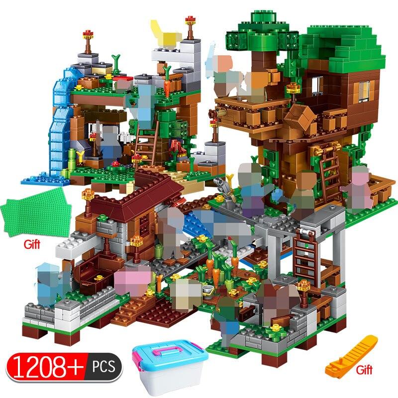 Mon monde blocs de construction LegoING Minecrafted Village Warhorse ville arbre maison cascade jouets éducatifs pour les enfants