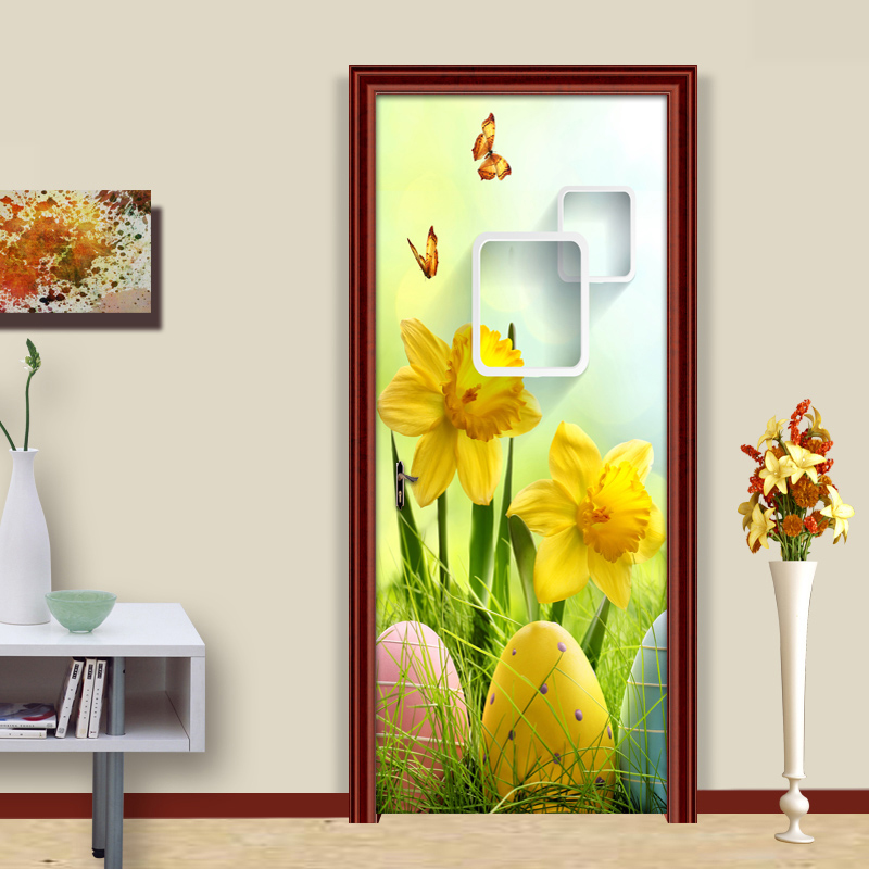 цена на PVC Self-adhesive Wall Painting Door Sticker Wallpaper Modern HD Fashion 3D DIY Murals Wallpaper Living Room Bedroom Stickers