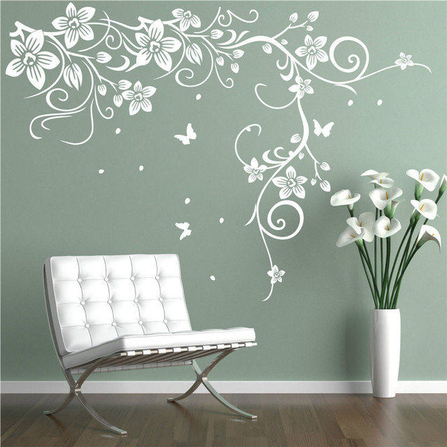 J18 Butterfly Vine Corner Flower Wall Stickers Tree Wall Decals Bedroom  Background Decorative Art Mural Home