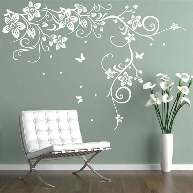 online shop j18 butterfly vine corner flower wall stickers tree wall