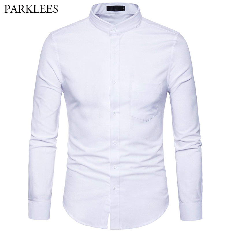 Men's Oxford Dress Shirt Slim Fit Long Sleeve Mandarin Collar Dress Shirts 2018 Spring New Men Casual Shirt For Business Man XXL