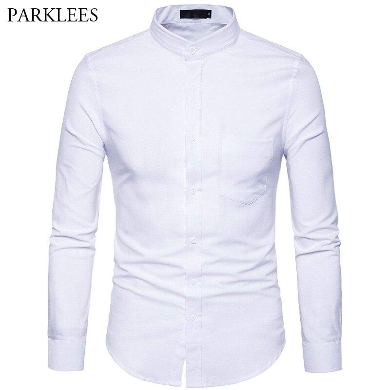 Men's Oxford Dress Shirt Slim Fit Long Sleeve Mandarin Collar Dress Shirts 2018 Spring New Men Casual Shirt For Business Man XXL