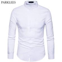Mens Oxford Dress Shirt Slim Fit Long Sleeve Mandarin Collar Dress Shirts 2018 Spring New Men Casual Shirt for Business Man XXL