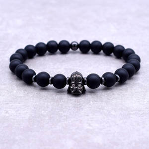 New Design Star Wars Darth Vader CZ Bracelet Men 8mm Black Natural Stone Beaded Bracelet Personality Jewelry Armband Heren