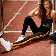 ФОТО instahot gryffindor workout leggings women letter printed side striped sporting pants long comfortable 2018 brand fashion female