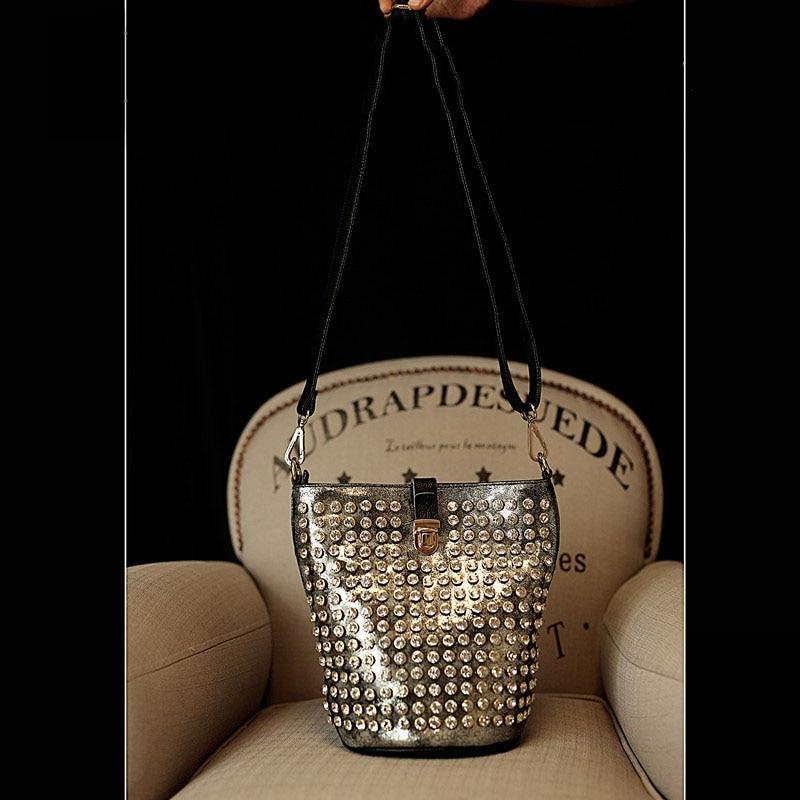 Luxury diamond bucket bag rhinestone rivet snake snake pattern female motorcycle bag tide shoulder handbag female